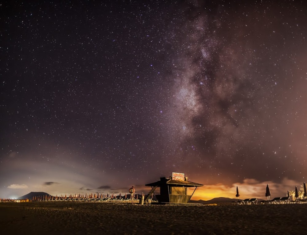 Milky Way over Corralejo beach