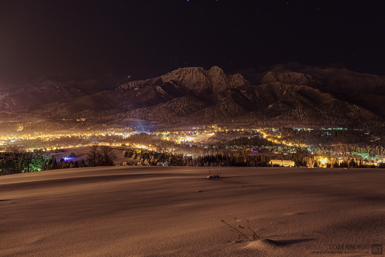 Night HDR shot of Zakopane