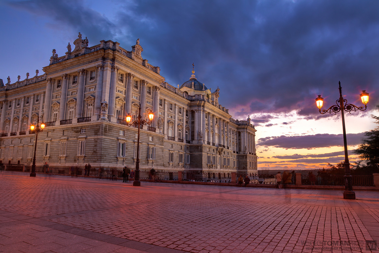 Royal Palace in Madrid during blue hour