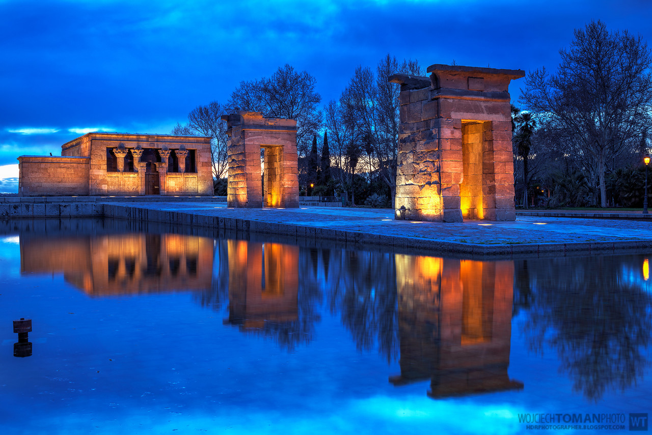 Debod Temple during blue hour