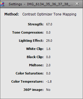 Contrast Optimizer settings