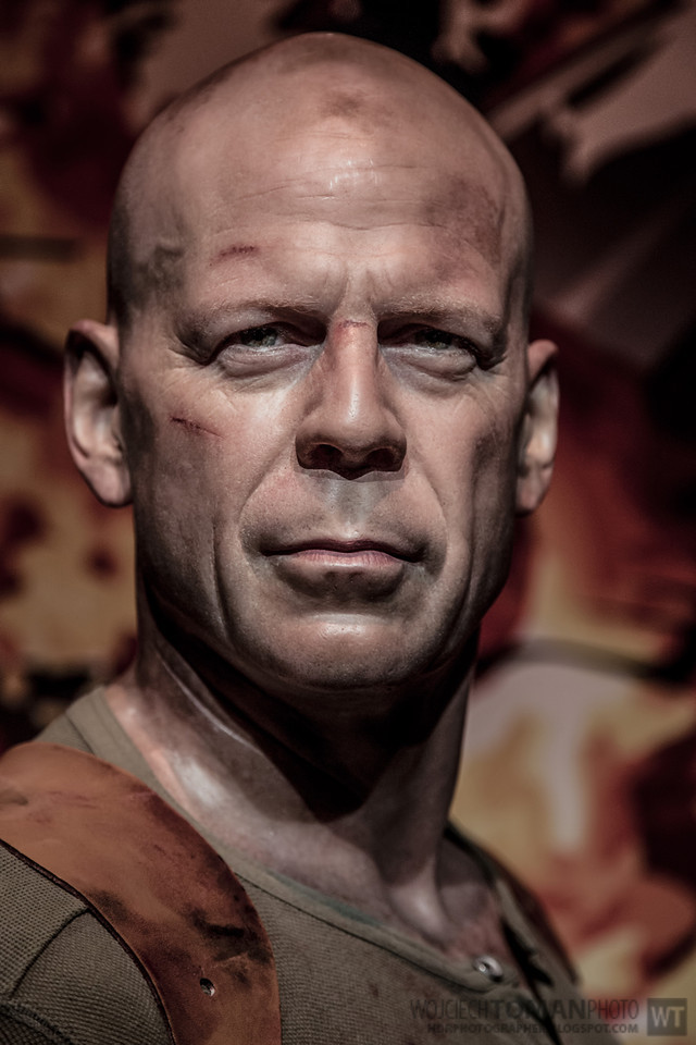 Wax figure of Bruce Willis in Madame Tussauds in London
