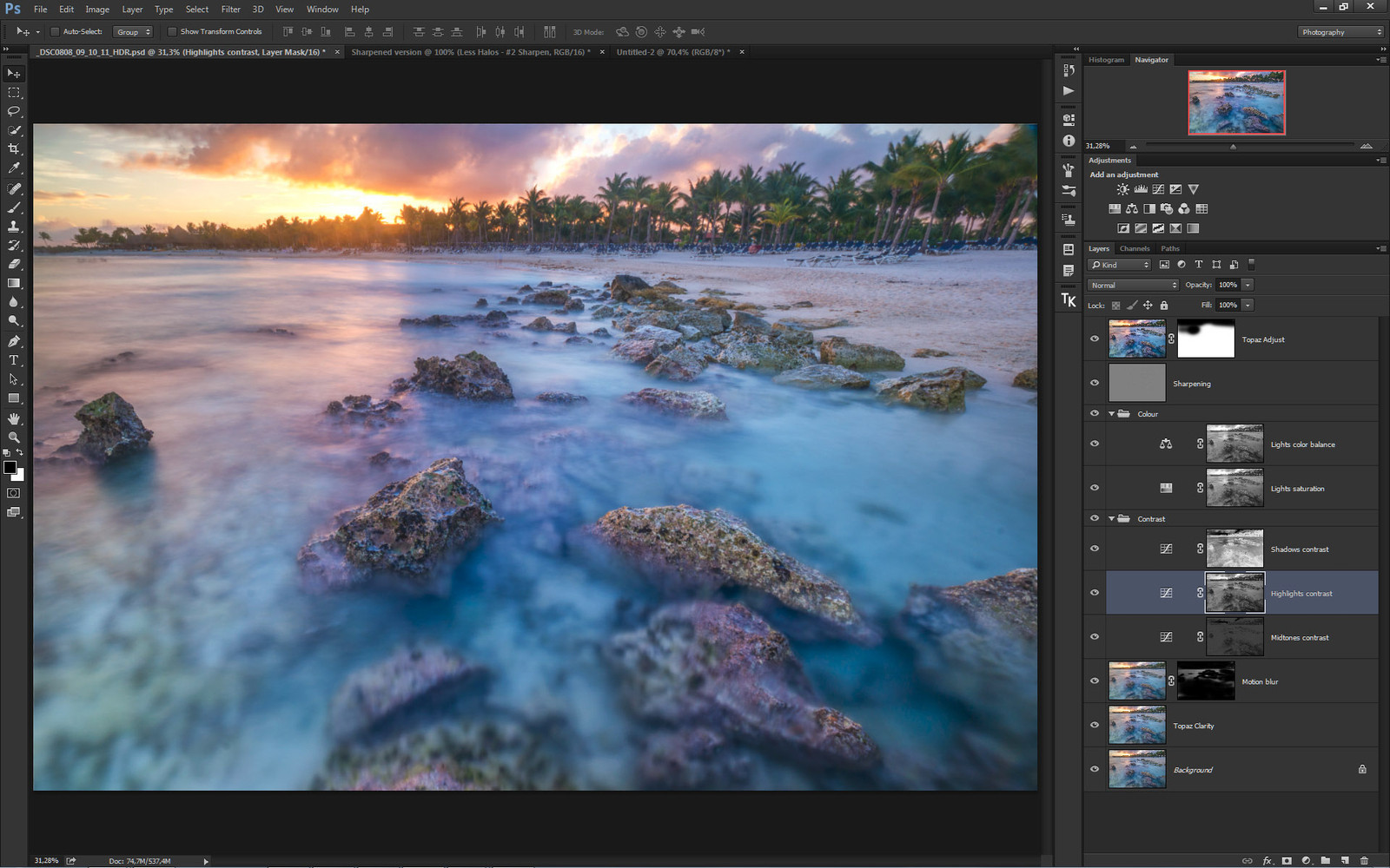 Post-processing with luminosity masks