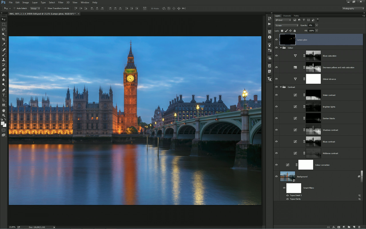 Editing using luminosity masks