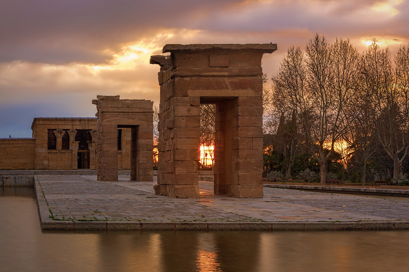 HDR photo of Debod Temple in Madrid during sunset
