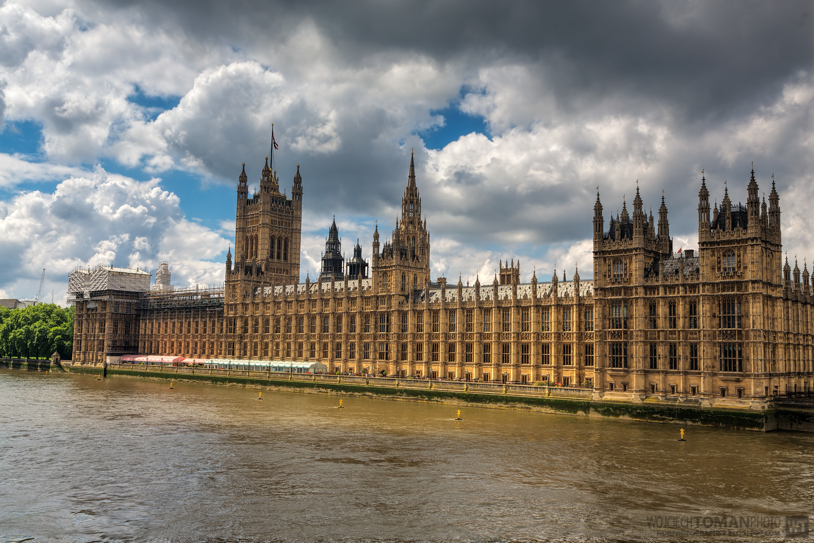 HDR photo of House of Parliament in London taken from Westminster Bridge.