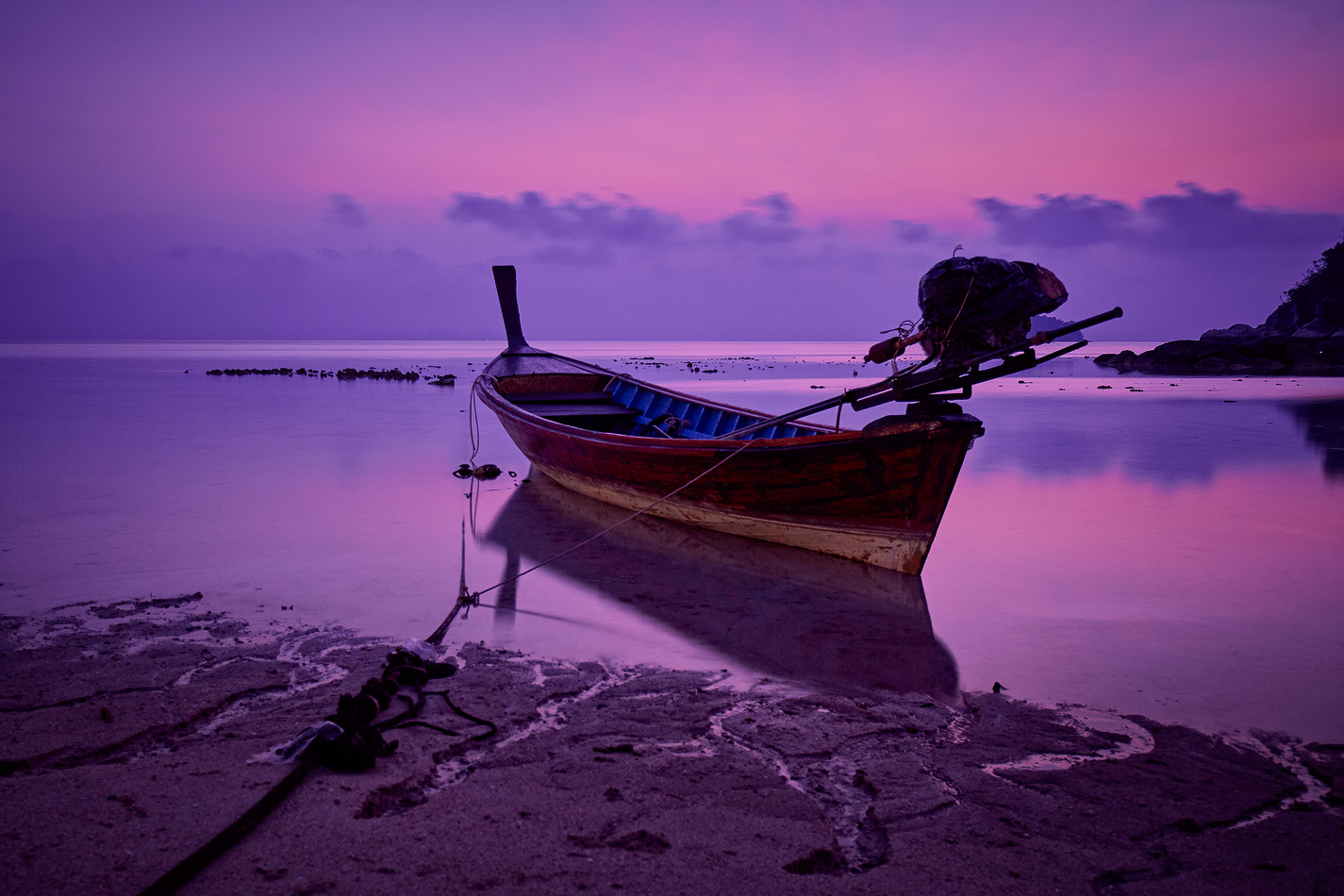 Lonely boat on Sunrise Beach