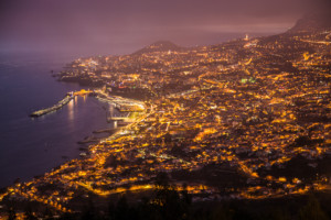 Funchal, capital of Madeira, at night
