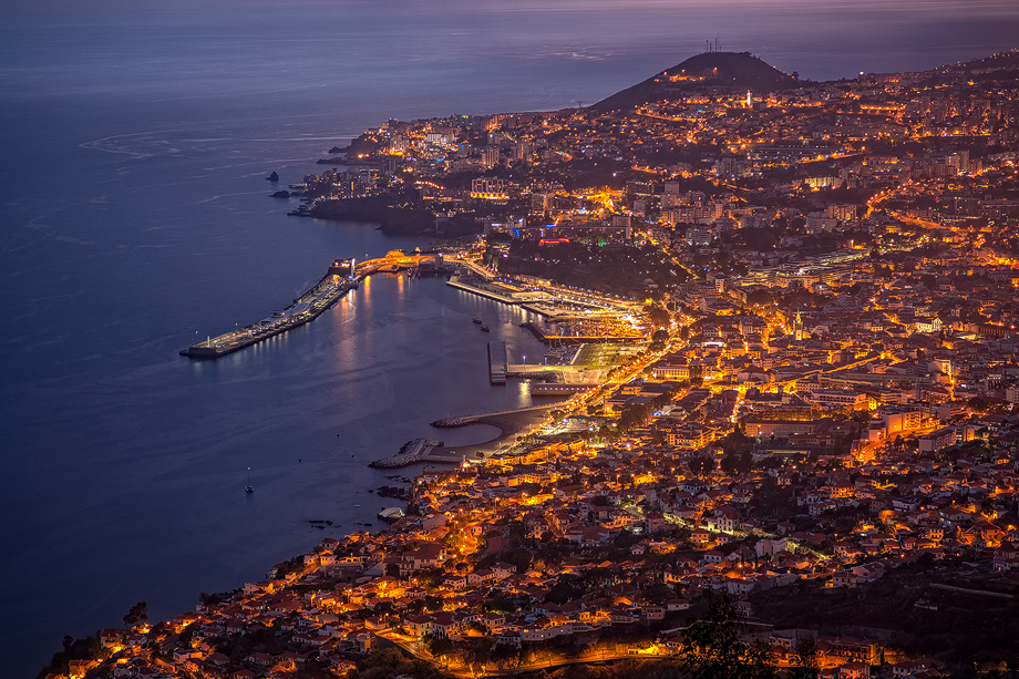Funchal in Madeira at night